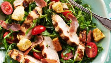 Grilled Turkey & Garlic Lemon Arugula Salad