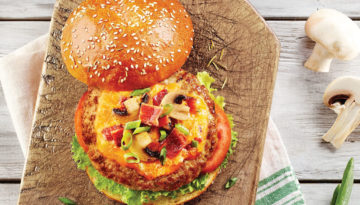 Bacon Mushroom Cheese Turkey Burgers