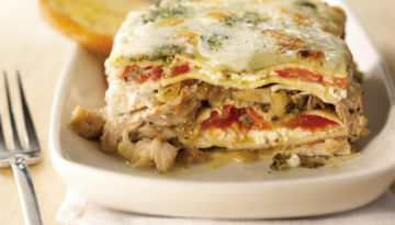 Caramelized Onion, Pesto & Turkey Lasagna