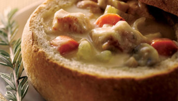 Creamy Turkey Stew in a Bread Bowl
