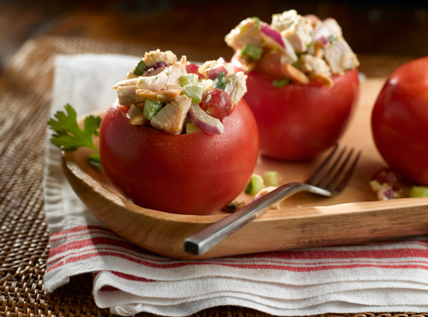 Tomato with Spicy Turkey Salad