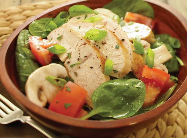 Warm Turkey & Spinach Salad