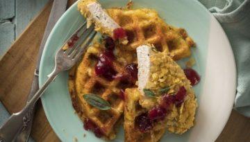Crispy Turkey with Potato Waffles