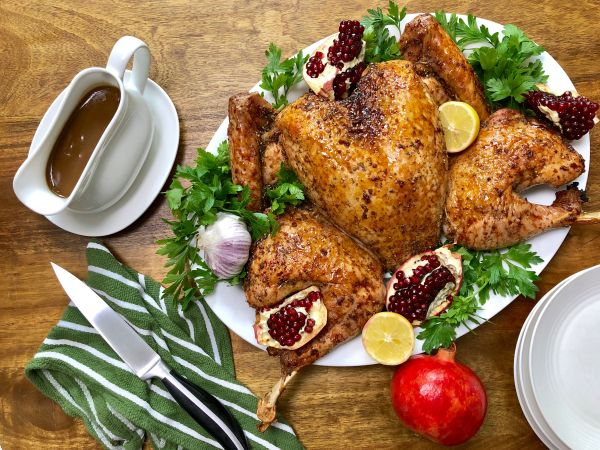 Spatchcocked Turkey with Pomegranate Molasses Glaze