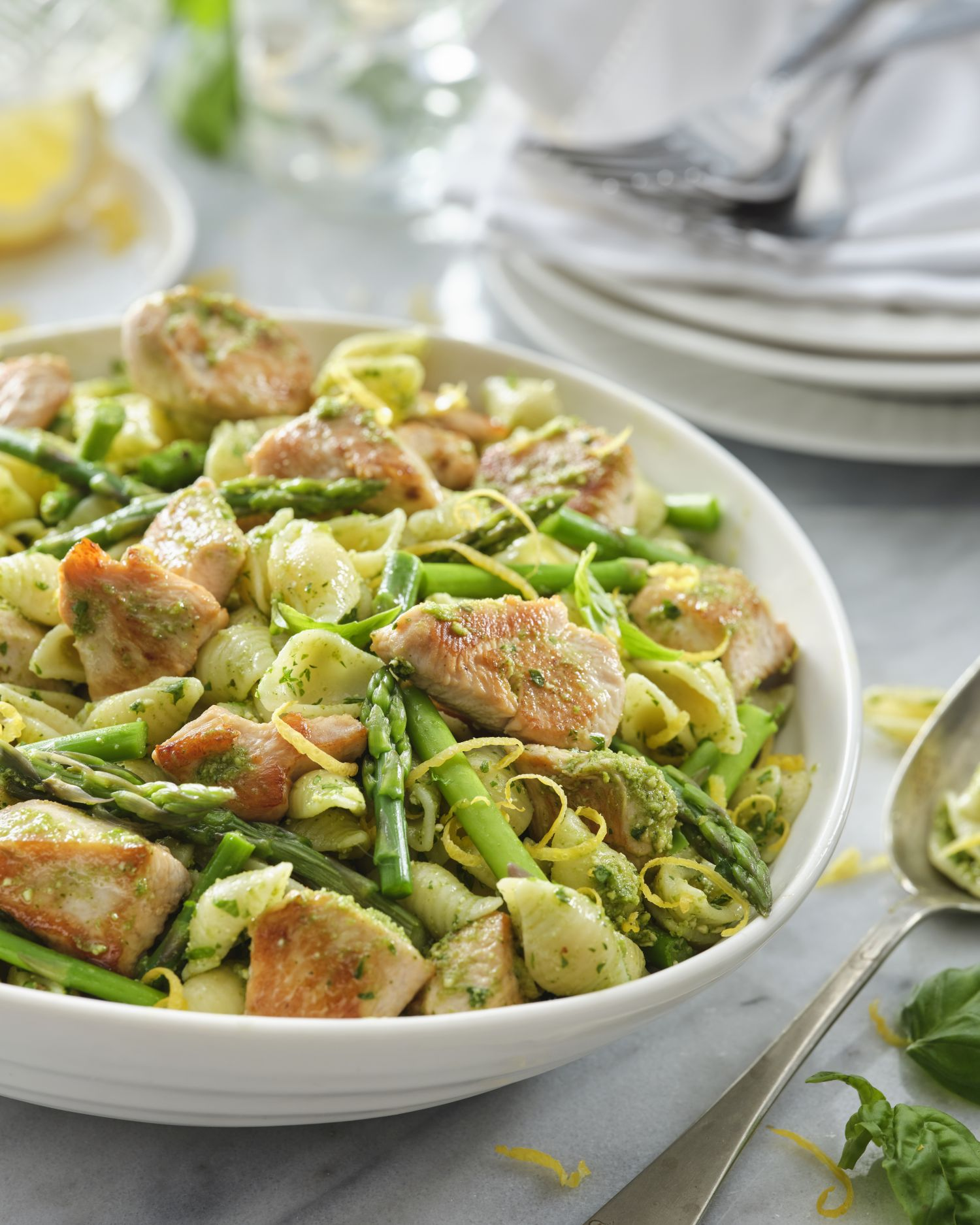 Lemon Pesto Asparagus and Turkey Shells